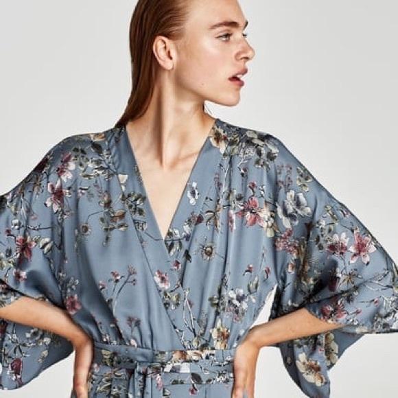 9ccc1ff96491 zara floral kimono jumpsuit. M 5a9729eab7f72bed9549c52d